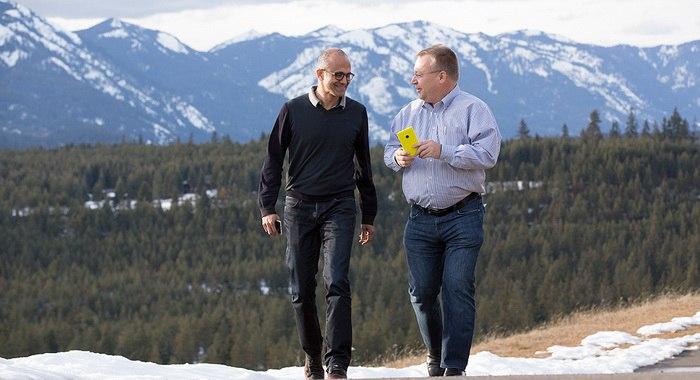 Microsoft Nadella and Nokia Elop