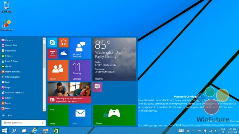 Leak Windows 9 Start Menu