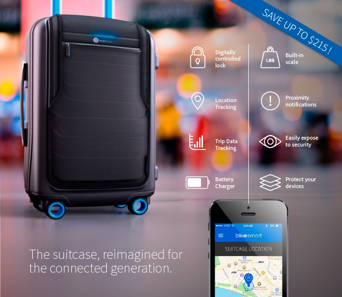 Bluesmart Carry-On Blueetooth Luggage