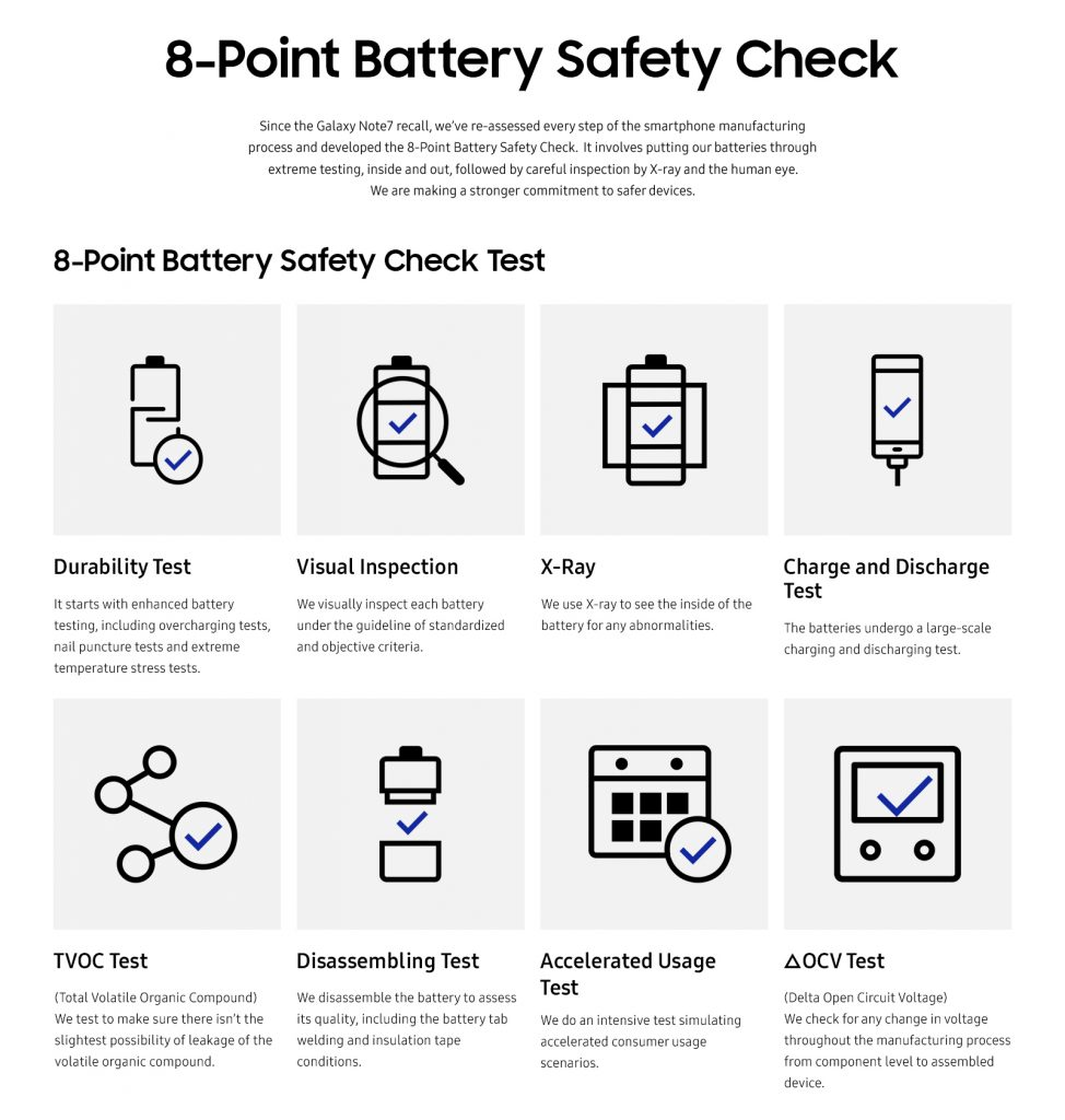 Samsung 8 Point Battery Safety Check