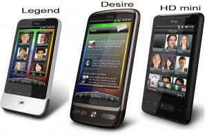 HTC Legend, Desire and HD mini