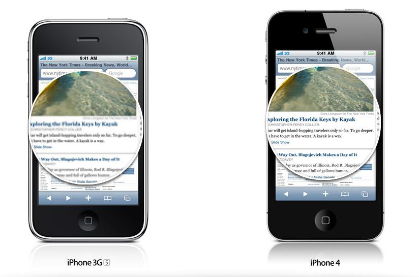iPhone 4 Retina Display vs iPhone 3GS