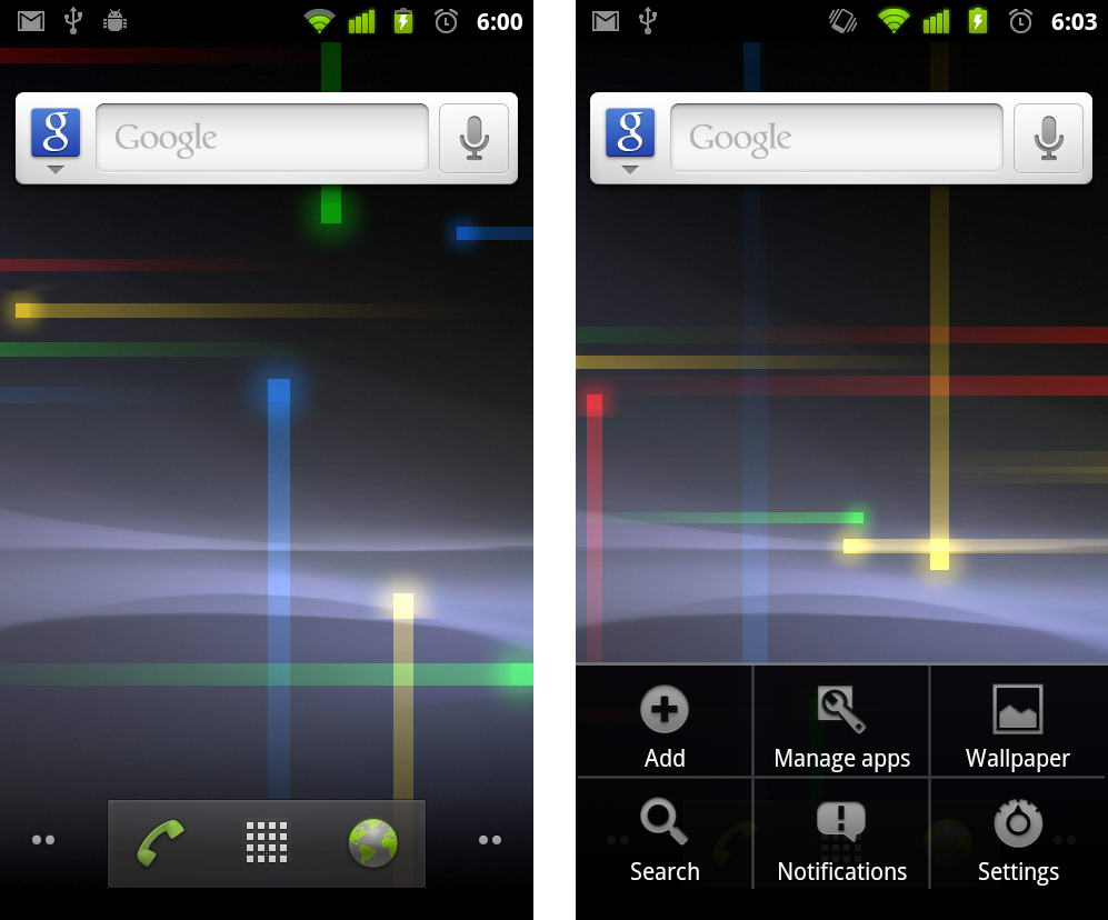 Android 2.3 Home Screen
